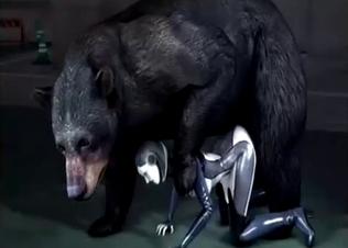 Giant 3D bear fucks a hot latex doll