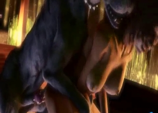 Demonic dog fucks a slender 3D goddess