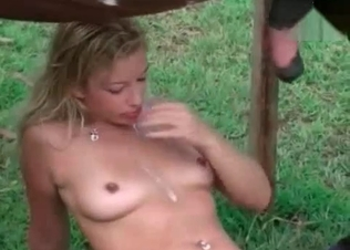 Wild stallion is jizzing on this model's tits